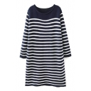 Round Neck Stripes Color Block Loose Longline Sweater