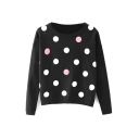 Round Neck Colored Polka Dot Long Sleeve Cropped Sweater