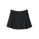 Plain Pleated Tweed Zip Side A-Line Min Skirt