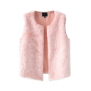Plain Round Neck Faux Fur Open Front Vest