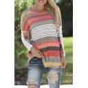 Round Neck Long Sleeve Colored Stripes Lace Patchwork Tee