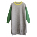 Contrast Neck Color Block Long Sleeve Pullover Long Sweater