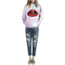 Hooded Galaxy Print Red Lips Pullover Purple Sweatshirt