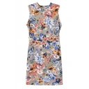 Round Neck Sleeveless Colored Floral Print Bodycon Dress