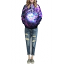 Purple Swirl Galaxy Print Hooded Pullover Sweatshirt