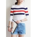 High Neck Stripe Trims Long Sleeve Slim Sweater