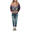 Dinosaur & Food Galaxy Print Hooded Long Sleeve Sweatshirt