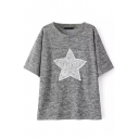 Star Sequined Embroidery Gilded Short Sleeve Tee