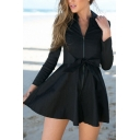 Zipper Front Lapel Tie Waist Plain A-Line Long Sleeve Mini Dress