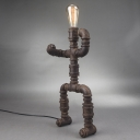 Industrial Robot LED Table Lamp in Rust Finish