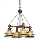 4-Light LED Pendant Chandelier - Sunset Bronze Finish with Light Amber Glass