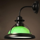 Satin Black Single Light Green Glass Barn LED Wall Lamp with Open Cage