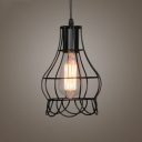 Wire Rose LED Pendant Light with Black Cage