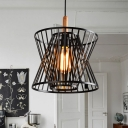 Satin Black 1 Light Neo-Industrial Slatted Foyer LED Pendant with Wood Accents