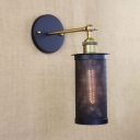 Brass Finished 1 Light LED Wall Sconce with Cylinder Mesh