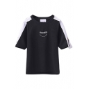 Round Neck Color Block Patchwork Letter Embroidery Tee