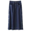 Split Side Button Detail Raw Edge Plain Denim Maxi Tube Skirt
