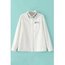 Letter Embroidery Lapel Long Sleeve Single Pocket Shirt