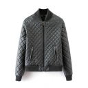 Stand Up Neck Zipper Plain Raglan Sleeve Rhombus Quilted Jacket