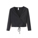 V-Neck Wrap Front Long Sleeve Plain Drawstring Waist Cropped Tee