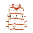 Color Block Stripes Tree Print Long Sleeve Sweater