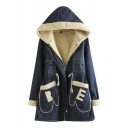 Lamb Wool Lining Drawstring Waist Hooded Denim Coat