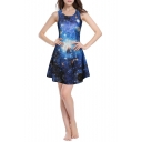 Galaxy Digital Print Round Neck Slim A-Line Dress
