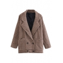Houndstooth Print Long Sleeve Notched Lapel Double Breasted Coat
