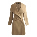 Plain Big Lapel Raglan Sleeve Belt Waist Tweed Long Coat