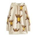 Cartoon Bear Print Hooded Long Sleeve Tunic Apricot Sweatshirt