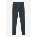 Black Stretch Plain Zipper Fly Skinny Mid Waist Jeans