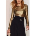Gold Round Neck Long Sleeve Plain Slim Sheer Tee
