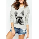 Cute Bulldog Print Round Neck Long Sleeve Gray Sweatshirt