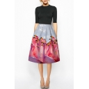 Flamingos Print High Waist Zipper A-Line Midi Skirt