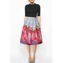 Flamingos Print High Waist Zipper A-Line Midi Skirt