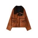 Lapel Zipper Plain Patchwork Wool Lining Suede Coat