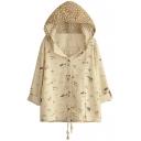 Hooded Single Breasted Long Sleeve Cartoon Print Coat