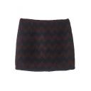 Chevron Color Block Zip Back Bodycon Tweed Mini Skirt