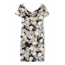 Off The Shoulder Short Sleeve Floral Print Bodycon Midi Dress