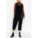 Scoop Neck Plain Double Pockets Cropped Overall Pants