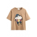 Cartoon Image Embroidery Short Sleeve Round Neck Tee