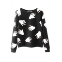 Black Repeated Palm Print Round Neck Pullover Sweatshirt