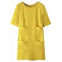 Zip Back Half Sleeve Four Pockets Plain Knit Dress