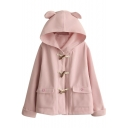 Cute Hooded Horn Button Plain Loose Tweed Coat