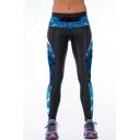 Elastic Waist Blue Galaxy Print Patchwork Leggings