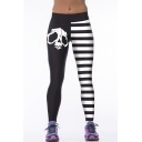 Color Block Skull Print Stripes Elastic Waist Leggings