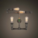 20 Inches Wide Indoor Pipe LED Wall Lamp with Green Faucet Aceents