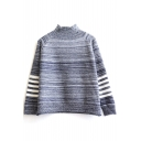 High Neck Long Sleeve Loose Stripes Pullover Sweater