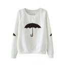 Raglan Sleeve Umbrella Embroidery Round Neck Sweatshirt
