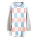 Long Plaid Color Block Batwing Sleeve Round Neck Sweater